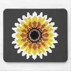 Colorful Red Yellow White Sunflower Embroider Look Mouse Pad at Zazzle