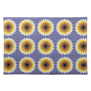 Colorful Red Yellow White Sunflower Embroider Look Placemat at Zazzle