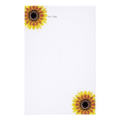 Colorful Red Yellow White Sunflower Embroider Look Stationery at Zazzle