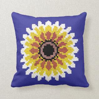 Colorful Red Yellow White Sunflower Embroider Look Throw Pillow at Zazzle