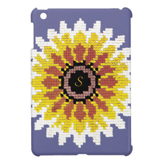Colorful Red Yellow White Sunflower EmbroiderLook iPad Mini Case