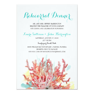Colorful Reefs Watercolor | Rehearsal Dinner 5x7 Paper Invitation Card