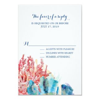 Colorful Reefs Watercolor | Wedding RSVP Card