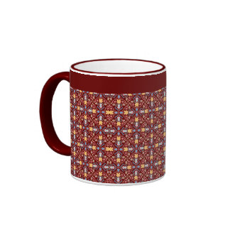 Colorful Renaissance Swirls Pattern Rich Red Ringer Mug