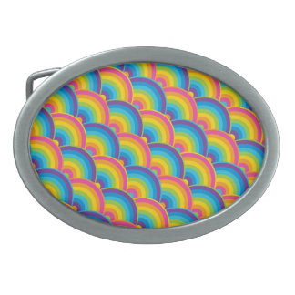Colorful Repeating Rainbow Pattern Gifts Oval Belt Buckles