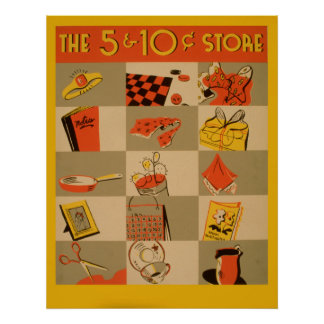 Colorful Retail Five And Dime Store Wpa Vintage Poster