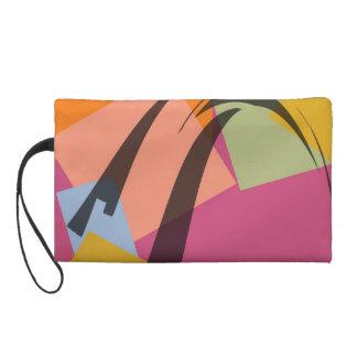 Colorful Retro Abstract Art Deco Wristlet Purse