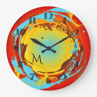 Colorful Retro Abstract Art Monogram Wall Clock