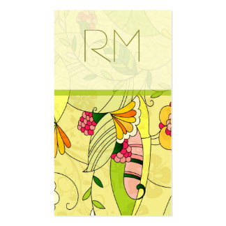 Colorful Retro Abstract Floral Collage 2 Double-Sided Standard Business Cards (Pack Of 100)