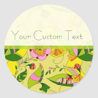 Colorful Retro Abstract Floral Collage 2 Round Sticker