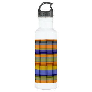 Colorful retro art stripes graphic design 3 water bottle