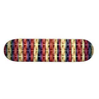 Colorful retro art wicker graphic design 2 skateboard