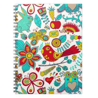 Colorful Retro Birds Flowers & Bunny Rabbits Notebook