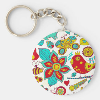 Colorful Retro Birds Flowers Pattern Basic Round Button Keychain