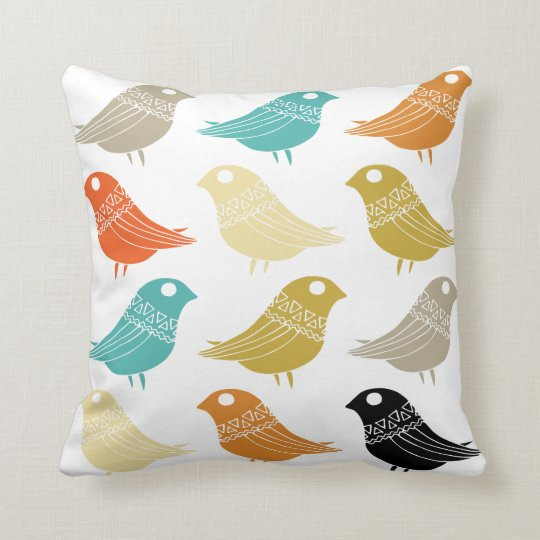 Colorful Retro Birds Mid Century Modern Throw Pillow Zazzlecom