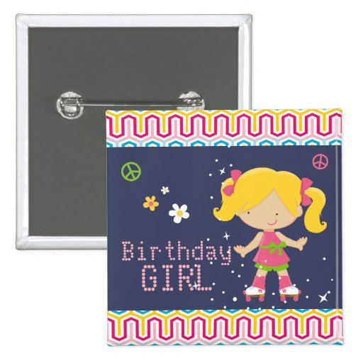 Colorful Retro Blonde Roller Skating Birthday 2 Inch Square Button
