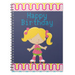 Colorful Retro Blonde Roller Skating Birthday Spiral Note Books