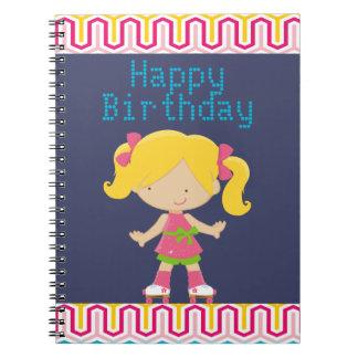 Colorful Retro Blonde Roller Skating Birthday Notebook