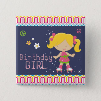 Colorful Retro Blonde Roller Skating Birthday Pinback Button