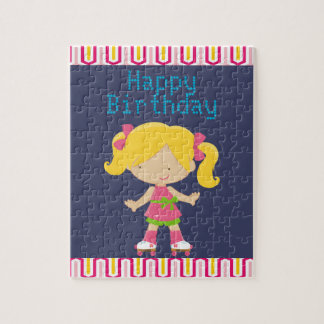 Colorful Retro Blonde Roller Skating Birthday Puzzles