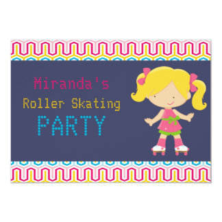 """Colorful Retro Blonde Roller Skating Party 5"""" X 7"""" Invitation Card"""