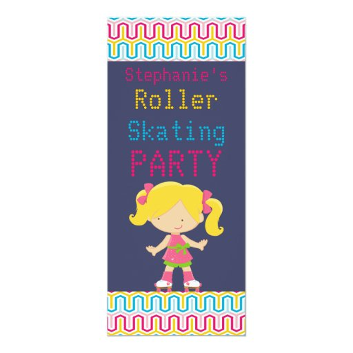 Colorful Retro Blonde v2 Roller Skating Party Personalized Invites