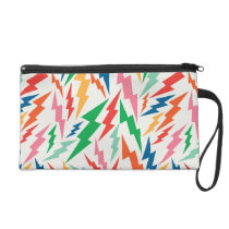 Colorful, Retro Bolt Pattern. Wristlet Purse