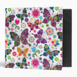 Colorful Retro Butterflies And Flowers Pattern Binder