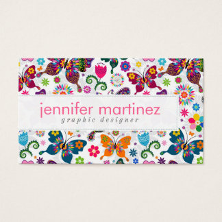 Colorful Retro Butterflies And Flowers Pattern Business Card