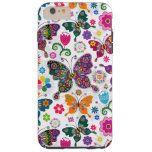 Colorful Retro Butterflies And Flowers Pattern Tough iPhone 6 Plus Case