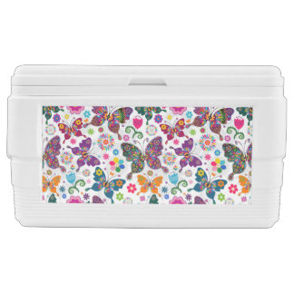 Colorful Retro Butterflies And Flowers Pattern Chest Cooler