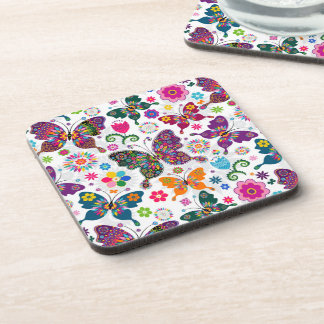 Colorful Retro Butterflies And Flowers Pattern Drink Coaster