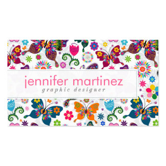 Colorful Retro Butterflies And Flowers Pattern Double-Sided Standard Business Cards (Pack Of 100)