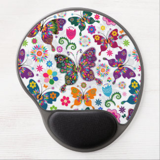 Colorful Retro Butterflies And Flowers Pattern Gel Mouse Pad