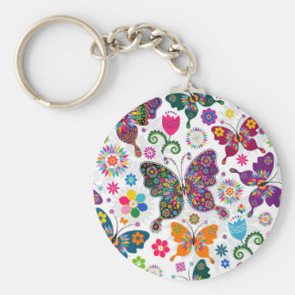 Colorful Retro Butterflies And Flowers Pattern Keychain