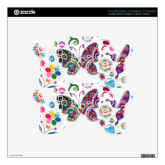 Colorful Retro Butterflies And Flowers Pattern PS3 Controller Skins