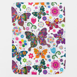 Colorful Retro Butterflies And Flowers Pattern Swaddle Blanket
