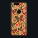 "Colorful Retro Butterflies And Flowers Pattern Wood Nexus 6P Case<br><div class=""desc"">Cool colorful retro butterflies and flowers pattern Custom and optional monogram version available by email request. Design is available on other products and can be requested on any product offered by Zazzle.</div>"