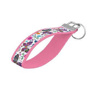 Colorful Retro Butterflies And Flowers Pattern Wrist Keychain
