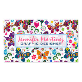 Colorful Retro Butterflies & Flowers Pattern 2 Business Card
