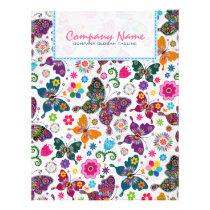 Colorful Retro Butterflies & Flowers Pattern 2a Flyer