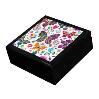 Colorful Retro Butterflies Illustration Jewelry Box