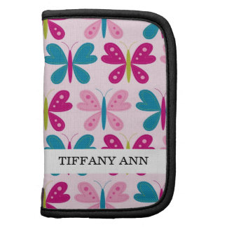 Colorful Retro Butterflies on Pink Pattern Organizer