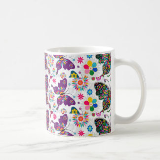 Colorful Retro Butterfly's And Flowers Pattern Coffee Mug