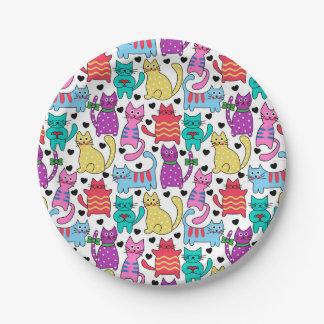 Colorful Retro Cat Feline Pattern Paper Plate