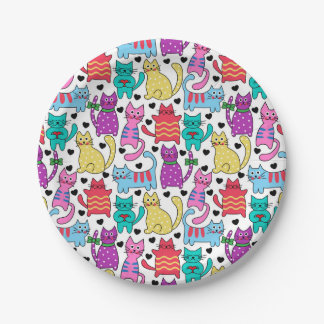 Colorful Retro Cat Feline Pattern 7 Inch Paper Plate