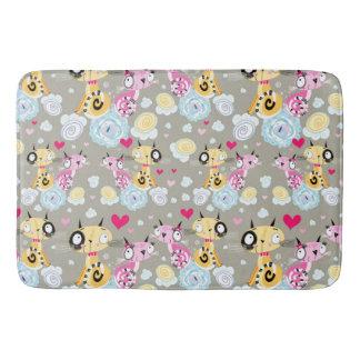 Colorful Retro Cat Feline Pattern Bath Mats