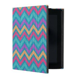 Colorful Retro Chevron Blue Pink Orange Purple iPad Cover