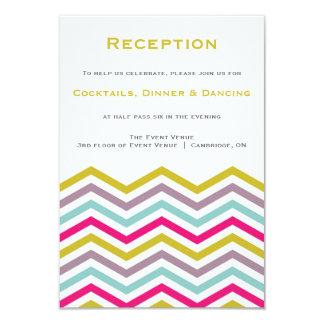 Colorful Retro Chevron Pattern Reception Card