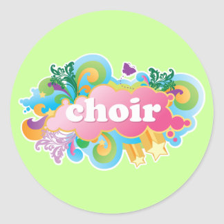 Colorful Retro Choir Design Gift Round Stickers